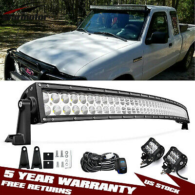 "50"" 288w Curved LED Light Bar Roof Mount + 4'' 18w Pod for 1993-2011 Ford Ranger"