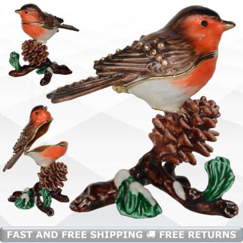 Chickadee Bird Miniature Pewter Hinged Enamel Trinket Box Jeweled Decor Ornament