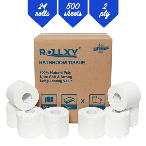 "Rollxy Bathroom Tissue, 2-Ply 500 Sheets, 4-1/2"" x 3-3/4"" sheets, 24 Rolls."