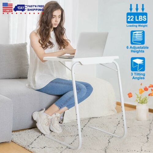 Folding Laptop Table Tray Sofa Side TV Tray Snack Desk Assemble Bed Adjustable