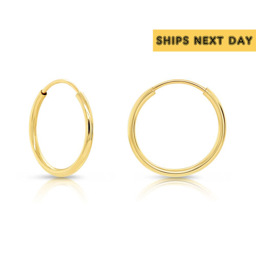 14k Real Yellow Gold Round Endless Hoop Earrings - 10-20mm, 1mm thick (Unisex)