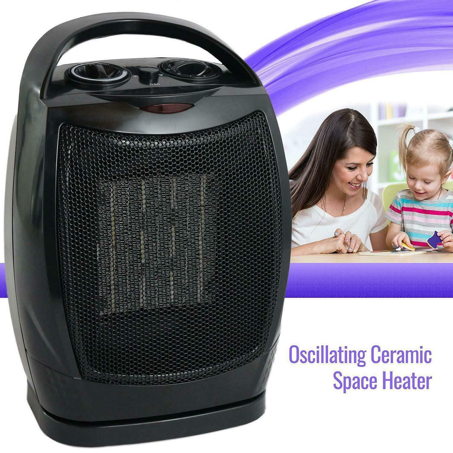 Oscillating Ceramic Space Heater Fan Home Office Adjustable Thermostat, Black Heating & Cooling Appliances