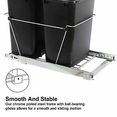35 Quart Sliding Double Pull Out Waste Bin Container for Base Kitchen Cabinet