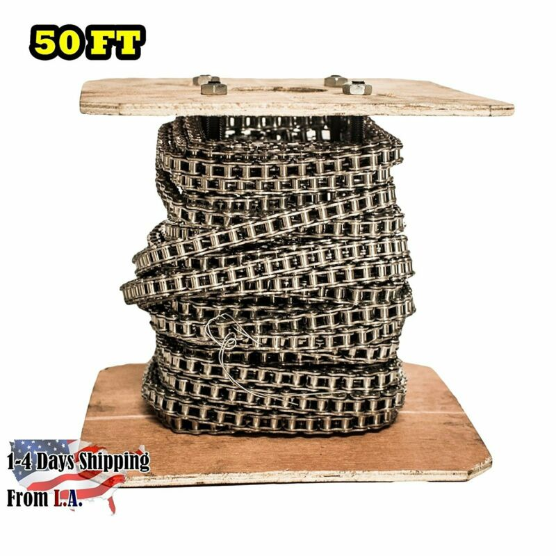 #35SS Stainless Steel Roller Chain 50 Feet with 5 Connecting Links