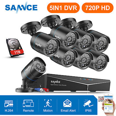 SANNCE 8CH Überwachungskamera Set 1TB Videoüberwachung 1080N DVR Außen Kameras