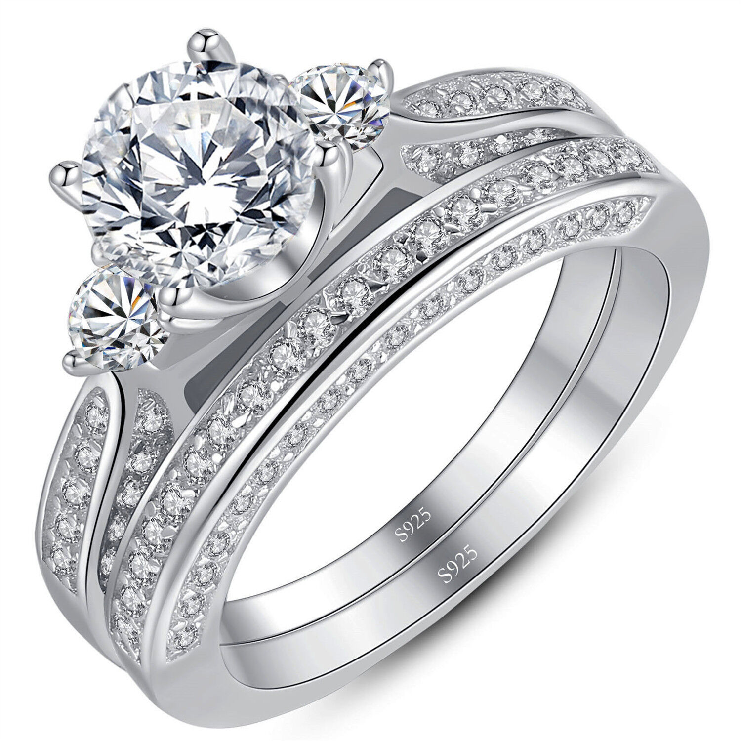Sterling Silver 1.25 ct Round CZ Women's Wedding Engagement
