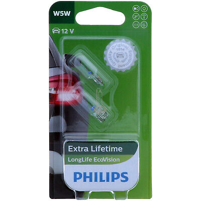 W5W PHILIPS LongLife EcoVision 12961LLECOB2 Scheinwerfer Lampe DUO-Pack NEU