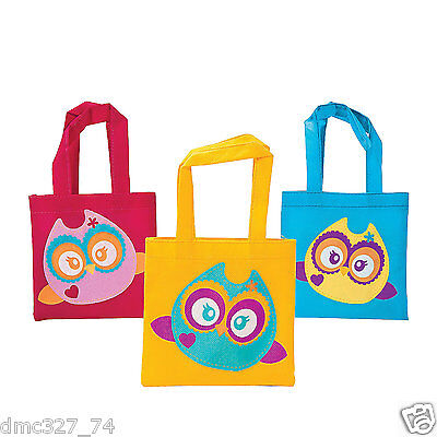 12 Birthday Everyday Party Favor MINI Goody Treat Tote Bags OWL YOU'RE A - Owl Treat Bags