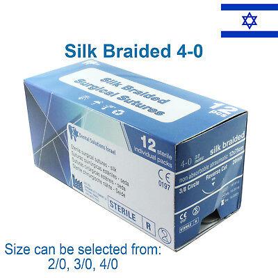Silk Braided 40 Surgical Suture Veterinary Use Trauma Wound Treat 12 Pcs