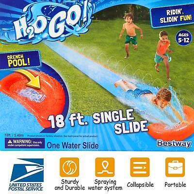 18ft Inflatable Water Slide Single Slip Kids Backyard Play Fun Outdoor Splash