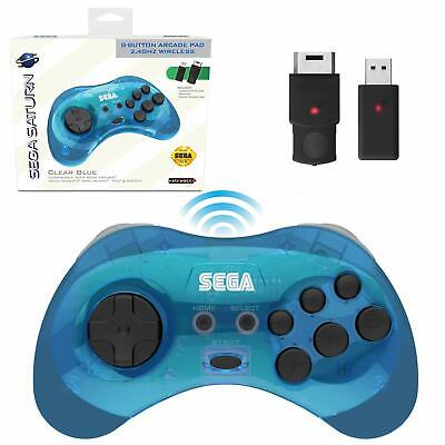 Retro-Bit  2.4 GHz Wireless Controller 8-Button Sega Saturn, Genesis Mini - Blue