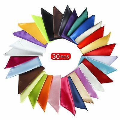 Mens Handkerchiefs 30 Set Solid Color Lot Handkerchief Hanky Pocket Square New