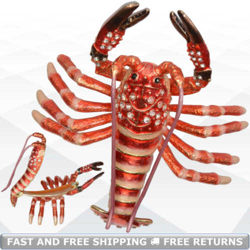 Lobster Jewelry Trinket Box Hinged Lid Enamel Jeweled Rhinestone Unique Souvenir