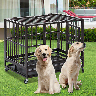 "48"" Dog Crate Large Kennel Cage Heavy Duty Metal Pet Playpen W/Wheels & Tray"