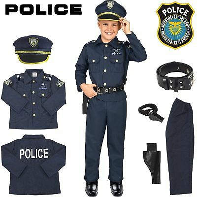 Police Officer Costume Kids Halloween Cosplay Boys Outfit Realistic Set Uniform](Police Halloween Costume Kids)