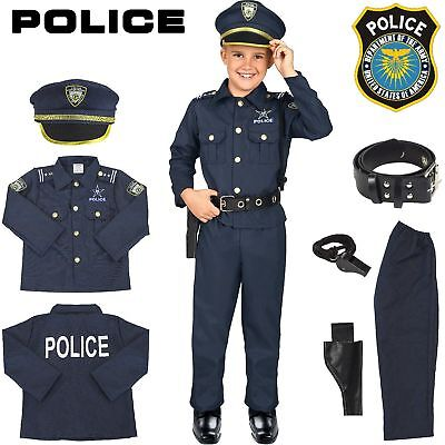 Police Officer Costume Kids Halloween Cosplay Boys Outfit Realistic Set