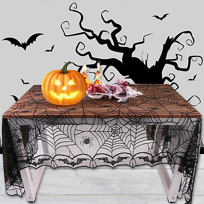 Halloween Tablecloth Lace Spider Web Spooky Table Runner Party Dinner Home Decor