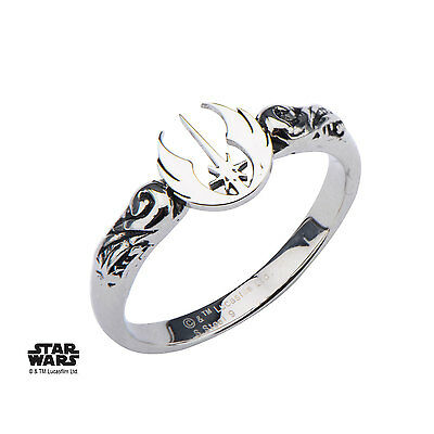 NEW in Box Licensed Star Wars Jedi Symbol Cut Out Stainless Steel Woman's Ring