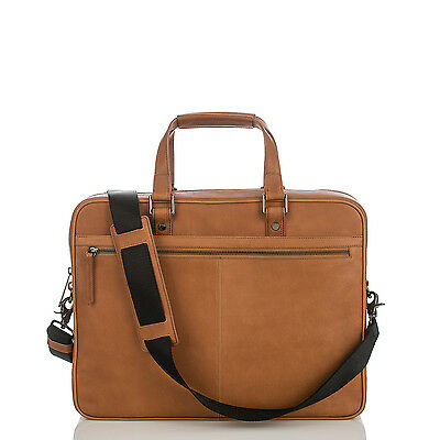 Brahmin Andy Brief Case Kesington Tan Business Laptop Work Bag Leather Camel