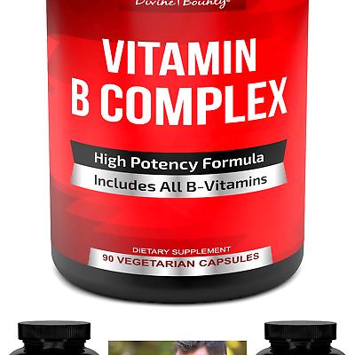 Super B Complex Vitamins - All B Vitamins Including B12, B1, B2, B3, B5, B6, ...
