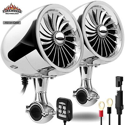 BOOST HIGH OUTPUT CHROME BLUETOOTH MOTORCYCLE STEREO SPEAKER SYSTEM HARLEY