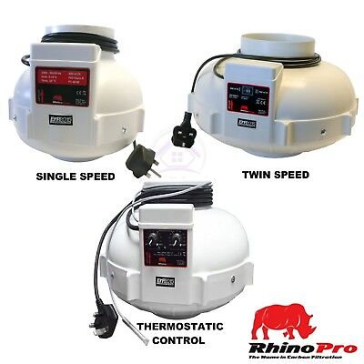 "Rhino Fan Inline Extractor 4"" 5"" 6"" 8"" 10"" Single, Twin Speed Thermo Hydroponics"