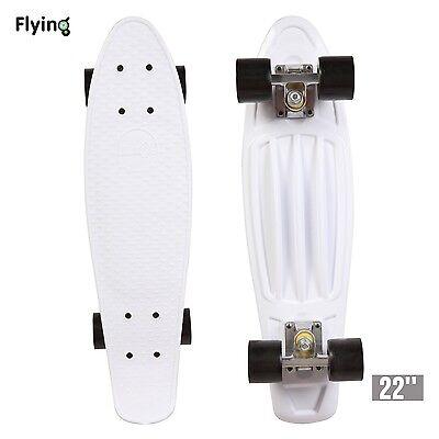"""22"""" Retro Mini Skateboard Cruiser Style Complete Deck Plastic Skate Board White"""
