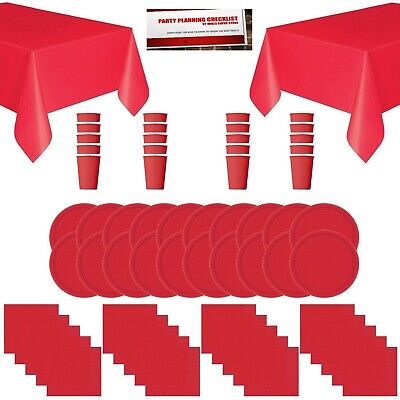 Red Solid Color Party Supplies Bundle Pack for 20 - Plates, Cups, Napkins and... - Cups And Plates For Party