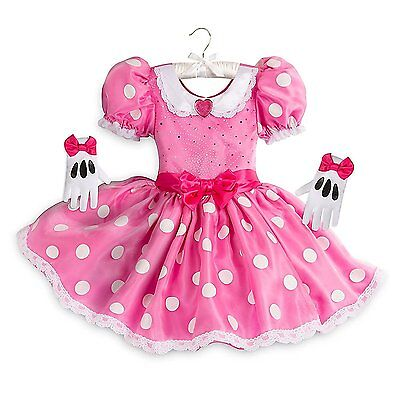 Disney Store Minnie Mouse Halloween Costume Dress Gloves Set Girl Size 5/6 (Stores Halloween Costumes)