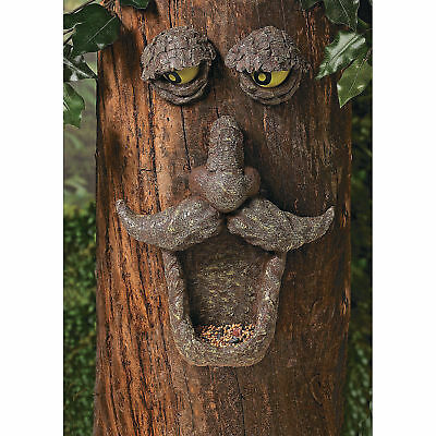 Tree Bark Face Bird Seed Feeder - Glow-in-the-Dark Eyes - Yard Decor - 96/1013
