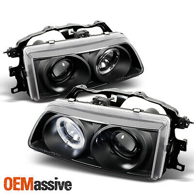 Fits 88-89 Honda Civic Crx Ex Si JDM Black Halo Projector Headlights Left+Right Civic Projector Headlights Black Housing