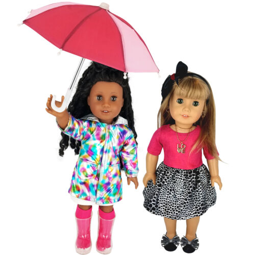 "Fits 18"" American Girl Doll Clothes -Raincoat Set with Umbrella & Holiday Outfit"
