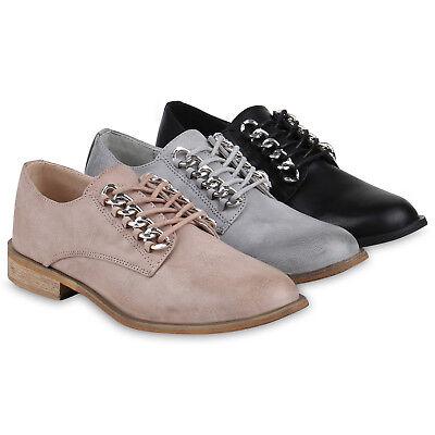 bfd6f6b246ffac Klassische Damen Halbschuhe Ketten Schnürschuhe Leder-Optik 821767 Schuhe