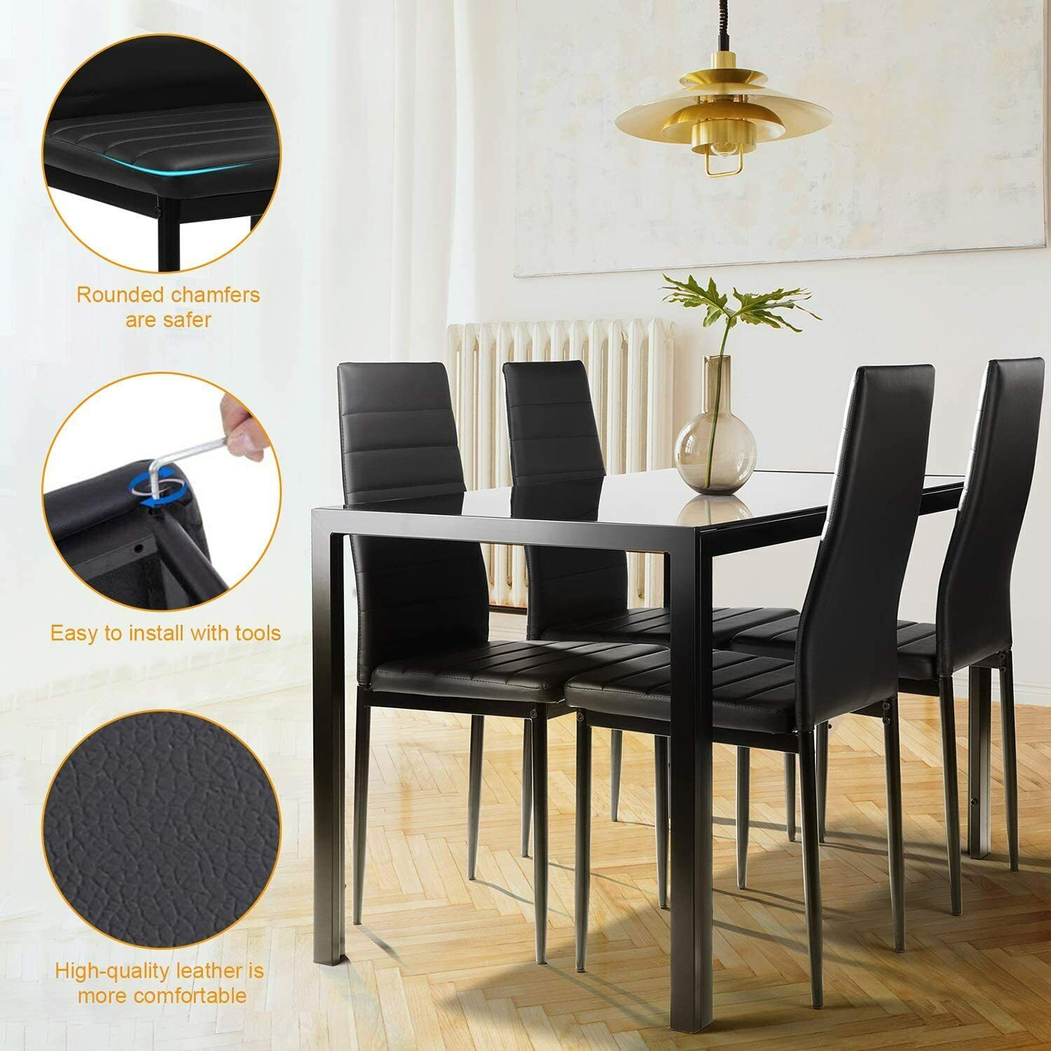 5 pc Dinning Table set ,Tempered Glass Top,4 Faux Leather chairs Easy To Clean