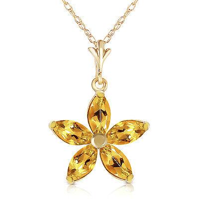 1.4 CTW 14K Solid gold fine Madame Citrine Necklace 16-24
