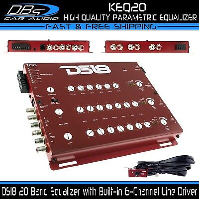 - 20 Band Equalizer Line Driver Trunk Mount EQ DS18 KEQ20 Car Audio 6-Channel