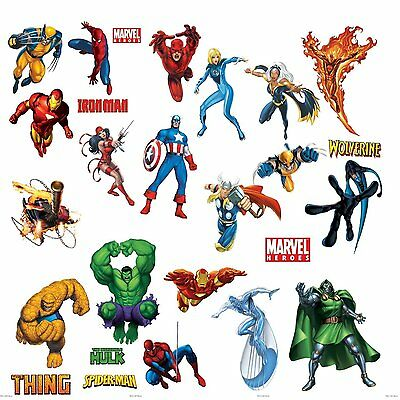Marvel Superheroes Avengers Wall Decal Spider-man Captain America Iron Man Hulk - Avengers Wall Decal