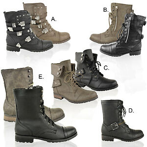 LADIES-WOMENS-ARMY-MILITARY-WORKER-FLAT-LOW-HEEL-LACE-UP-COMBAT-BIKER-BOOTS-SIZE