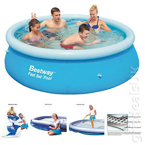 Bestway 10ft Clear Fast Set Inflatable Swimming Paddling Pool Family Summer Fun Ebay