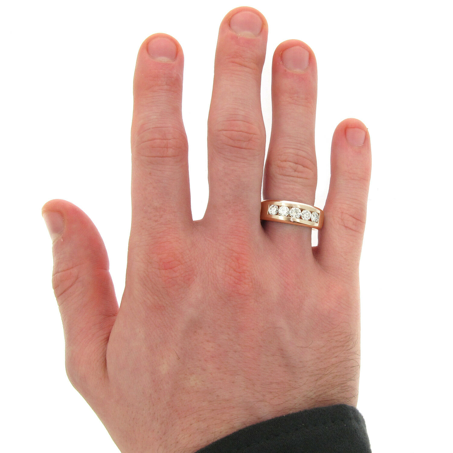 1.00 CT Channel Set Diamond Mens Wedding Ring in 14k Yellow Gold NEW! 7