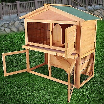 "40"" Wooden Rabbit Hutch Cage Chicken Coop Hen House Pet Animal Poultry Cage Run"