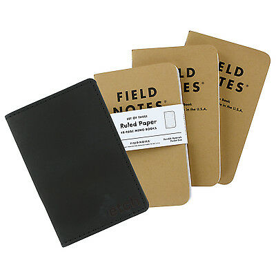 Allegory Etch Black Fieldnotes Memo Book Leather Journal Cover With 3 Memo Books