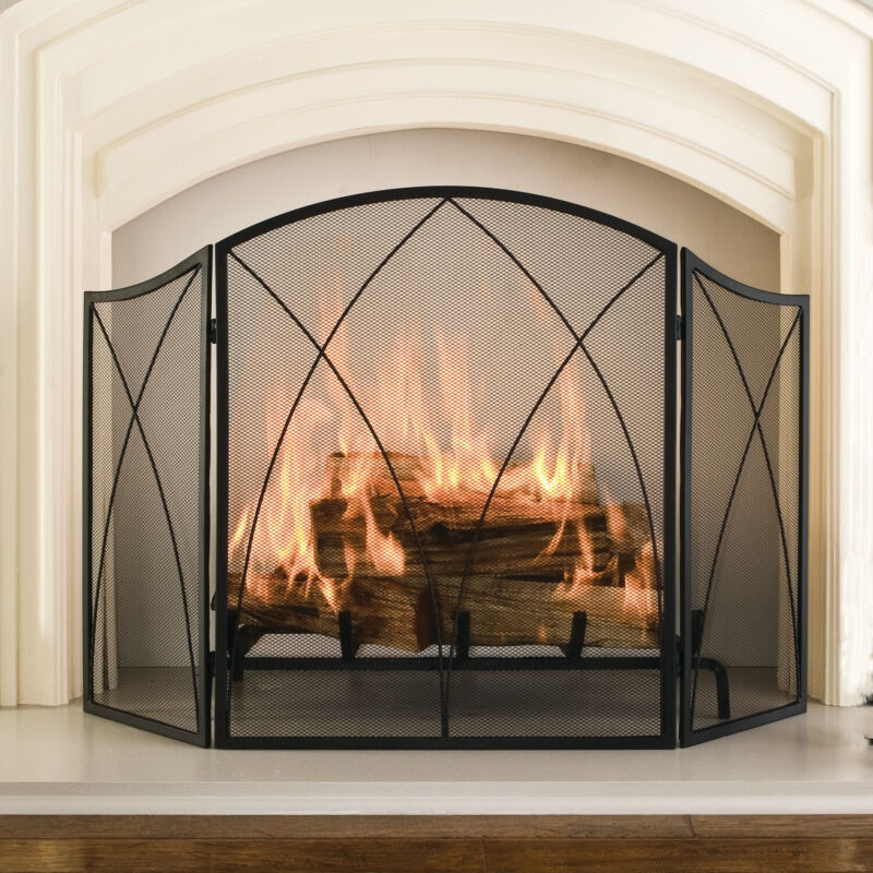 victorian arched 3 panel fireplace screen gothic