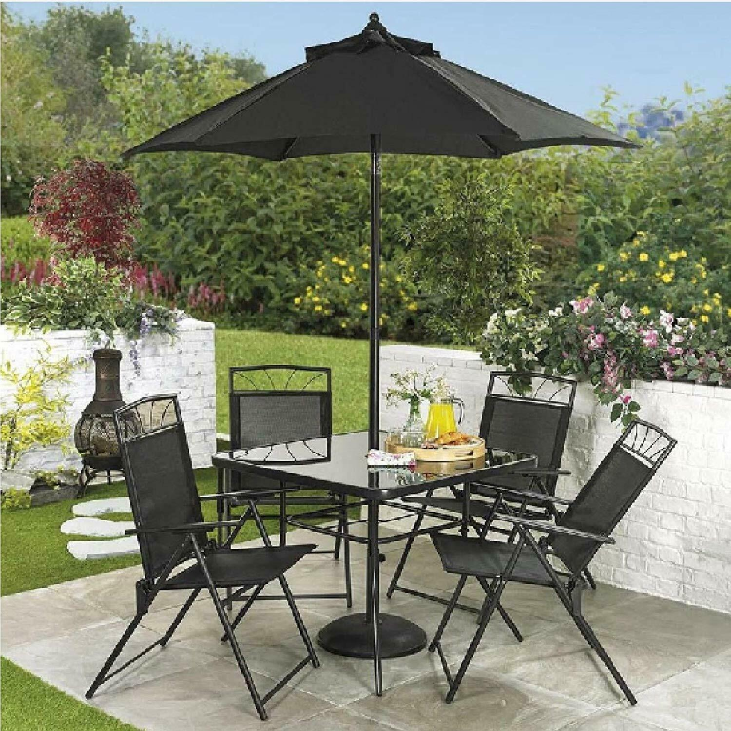 Garden Furniture - 4  Seat Garden Dining Set Outdoor Patio Furniture Table Chairs Parasol 2 Colours