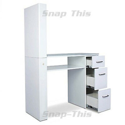 Nail Art Technician White Desk Manicure Table Salon Workstation Storage Pedicure