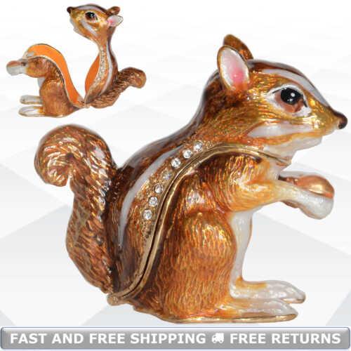 Chipmunk Animal Small Metal Enamel Hinged Jewelry Trinket Box Jeweled Rhinestone