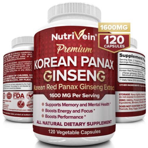 Nutrivein Korean Red Panax Ginseng 1600mg - 120 Caps - High Strength Ginsenoside