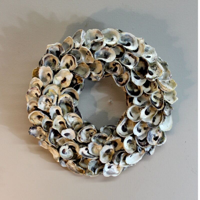 Oyster Shell Wreath Door or Centerpiece Real Shells Hand Crafted Beach Nautical