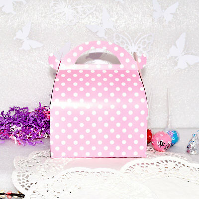 12 Baby Pink Birthday Favor Boxes Polka Dot Candy Cake Gable Box Girl - Pink Gable Boxes