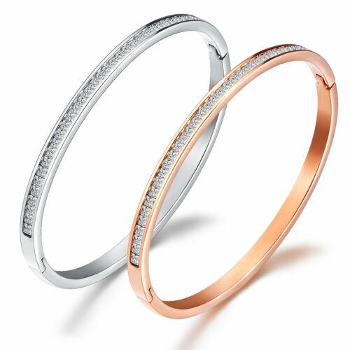 Women's Stainless Steel CZ Crystal Cuff Bracelet Bangle Cubi